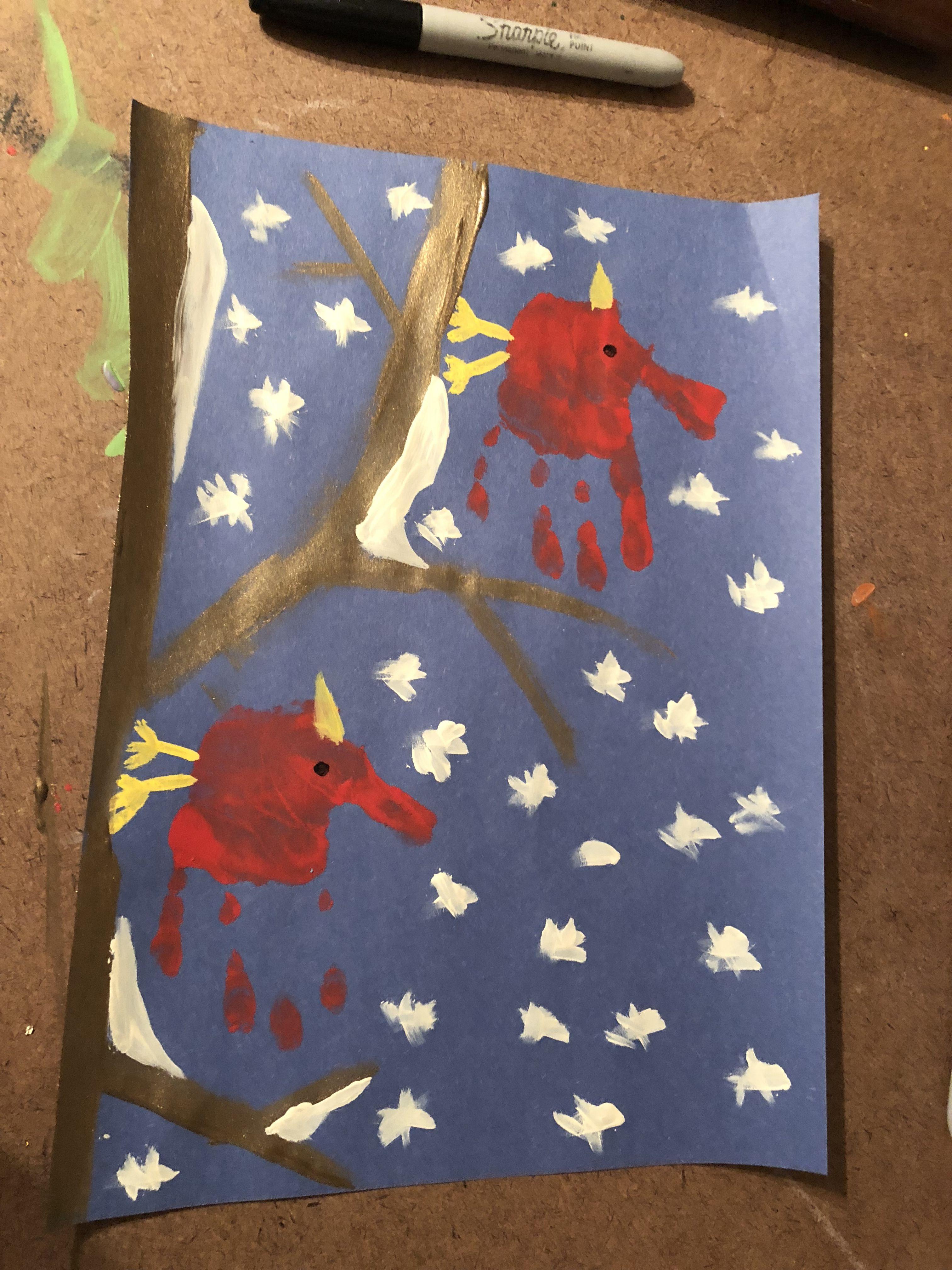 Cardinal handprint art Handprint art, Country flags, Art