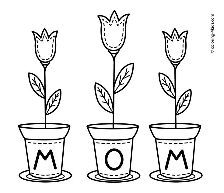 Mothers Day Flowers Coloring Pages For Kids Printable Free