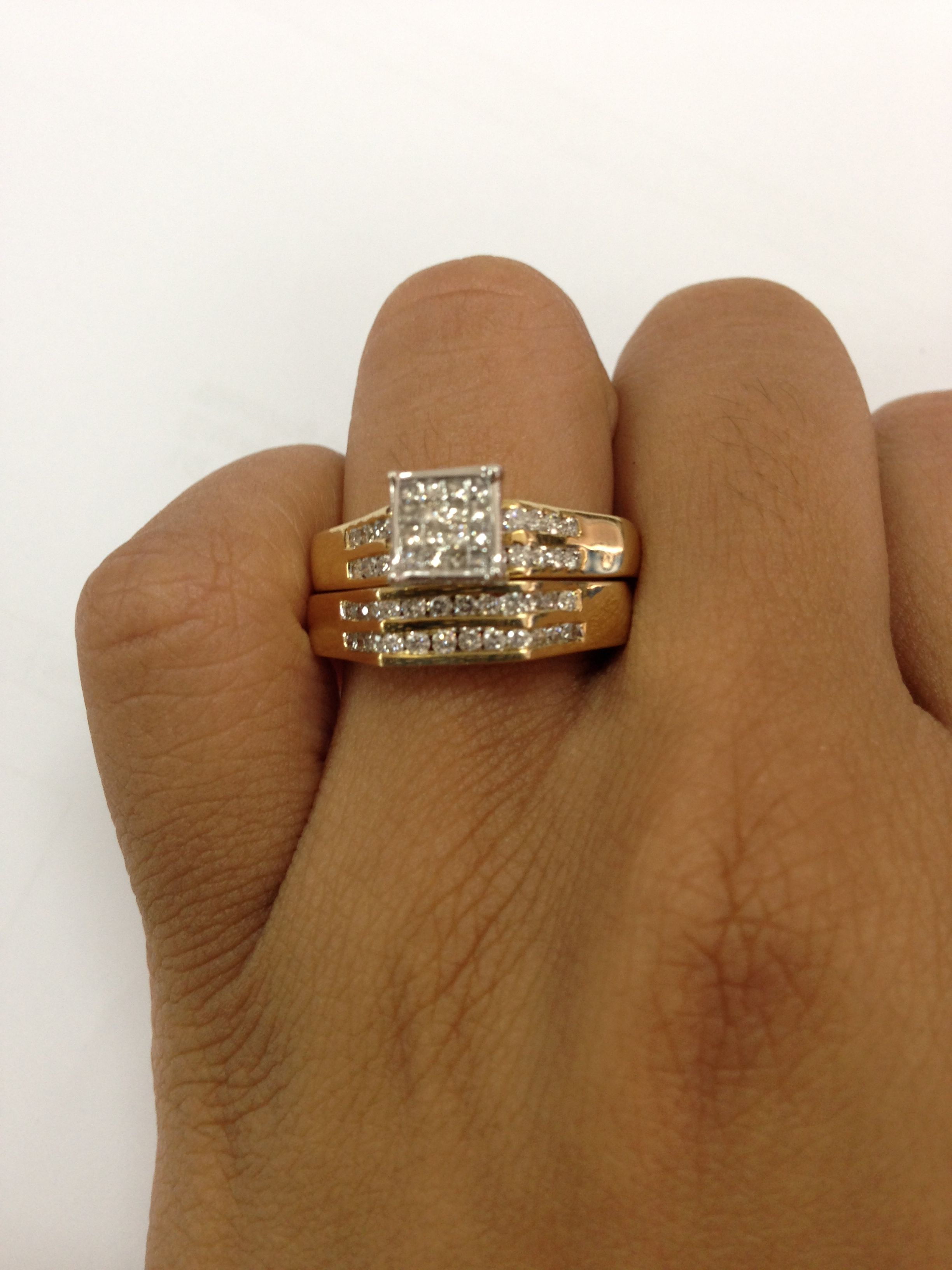 1 Carat Diamond Trio Wedding Ring Set 14k White Gold