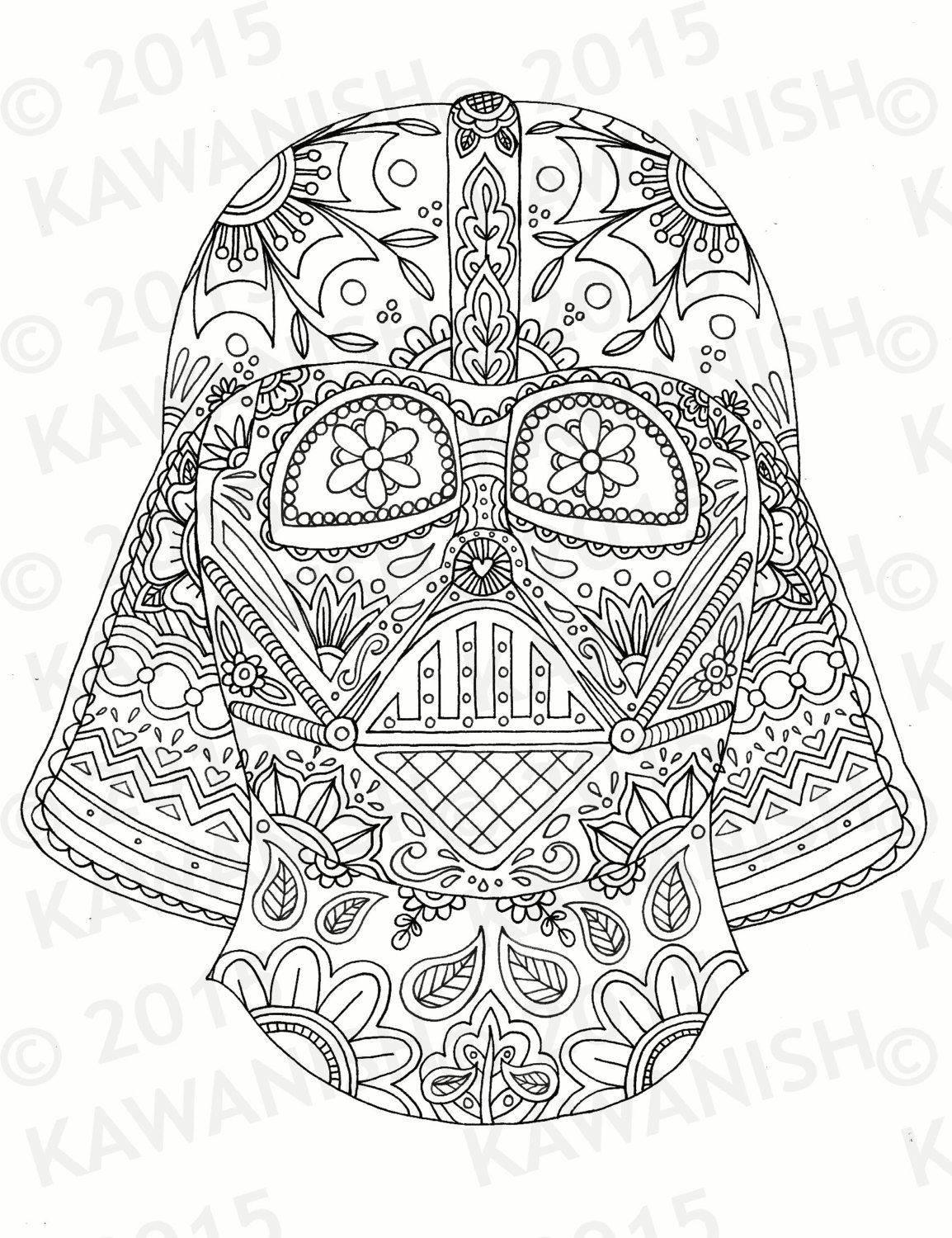 Darth Vader Mask Adult Coloring Page Gift Wall Art Star Wars