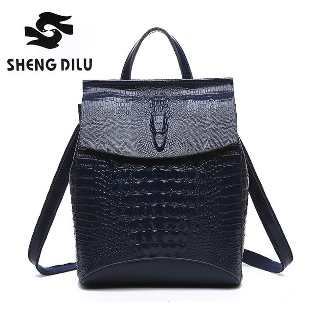 Promotion price fashion Alligator shengdilu brand 100% genuine leather Backpack Cow mochila 2017 new women school bag free shipping just only $42.55 with free shipping worldwide  #womanbackpacks Plese click on picture to see our special price for you