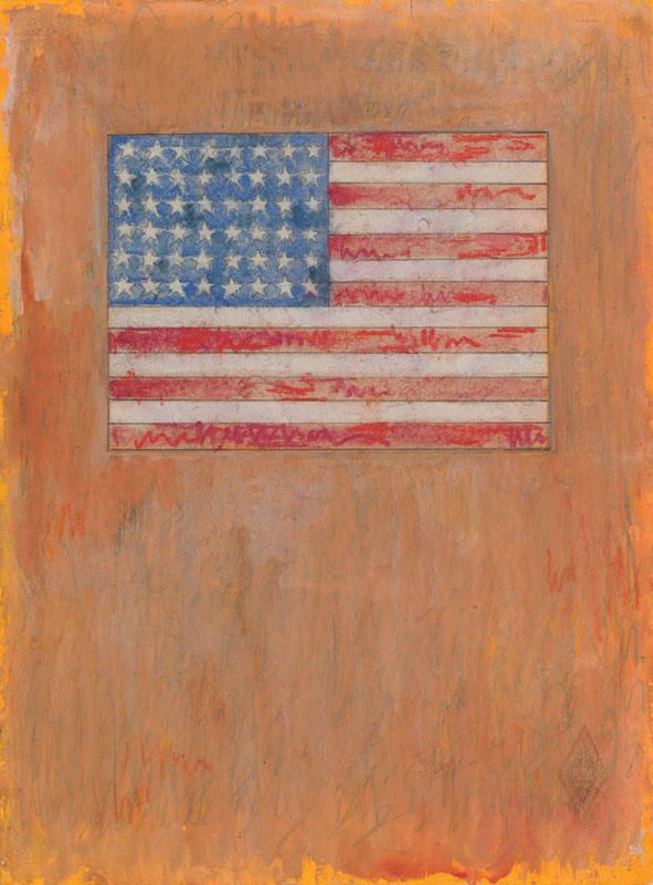 Jasperjohns Flag On Orange Field 1957 Day Glo Watercolor Chalk And Pencil On Paper 10 X 7 7 8 Inches Included In The Con Jasper Johns Artist Drawings