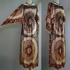 VTG 60s 70s David Edden Silky Scarf Dress Hand Rolled Edges Hippie Festival S/ M