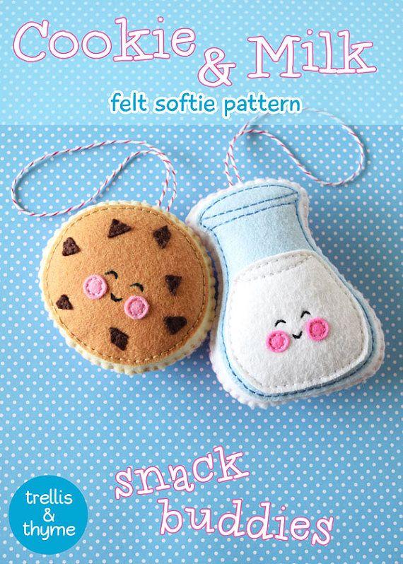 PDF Pattern - Cookie & Milk Felt Pattern, Kawaii Felt Ornament ...