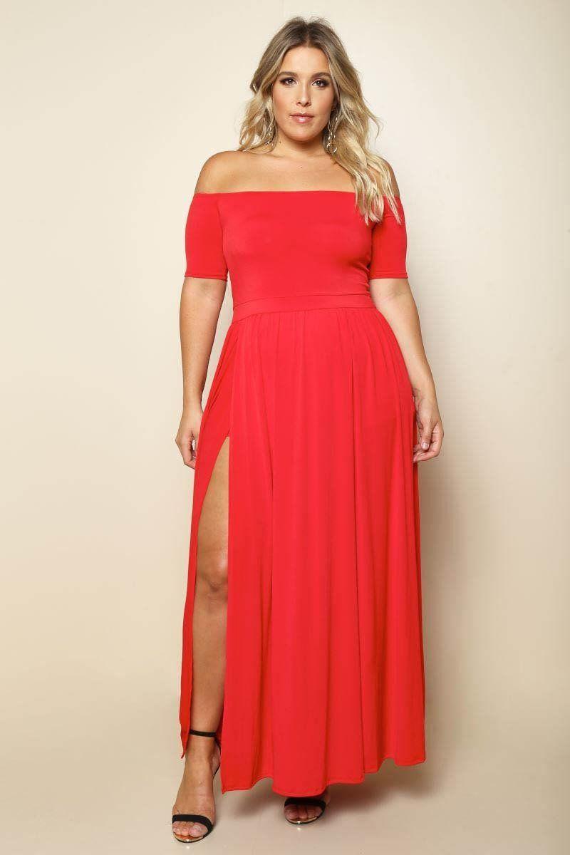 Elegant diva plus size maxi dress red split long dress