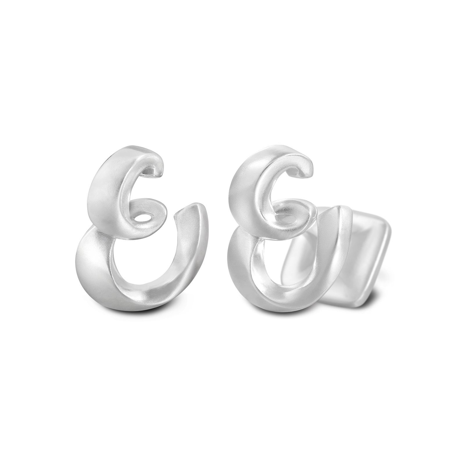 Signature Sterling Silver Cuff Link In Mist Finish Letter E