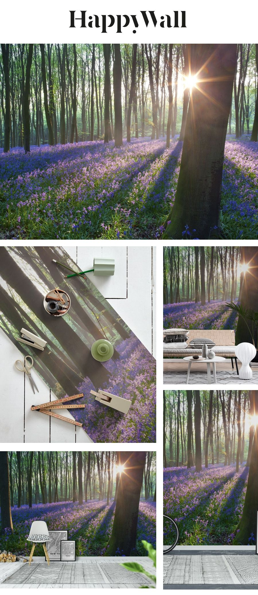 Bluebell woods wall mural from Happywall bedroom
