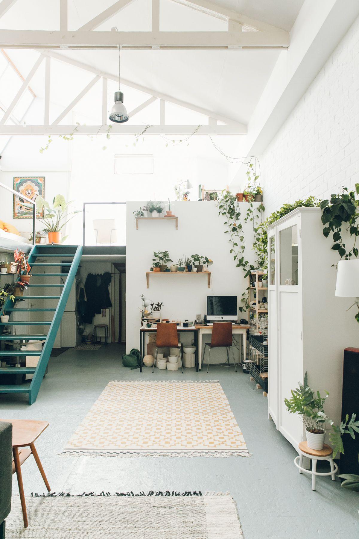 Plants Everywhere In This Minimal Workspace Loft