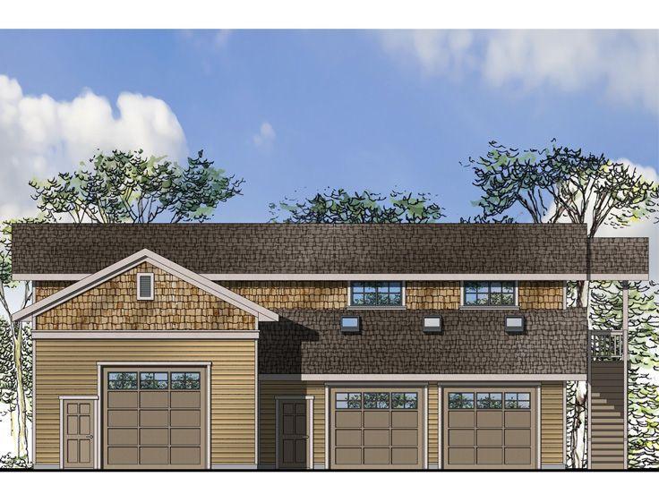 051G-0078 RV Garage Plan with Rec Room Above; 58\u0027x46\u0027 RV Garage