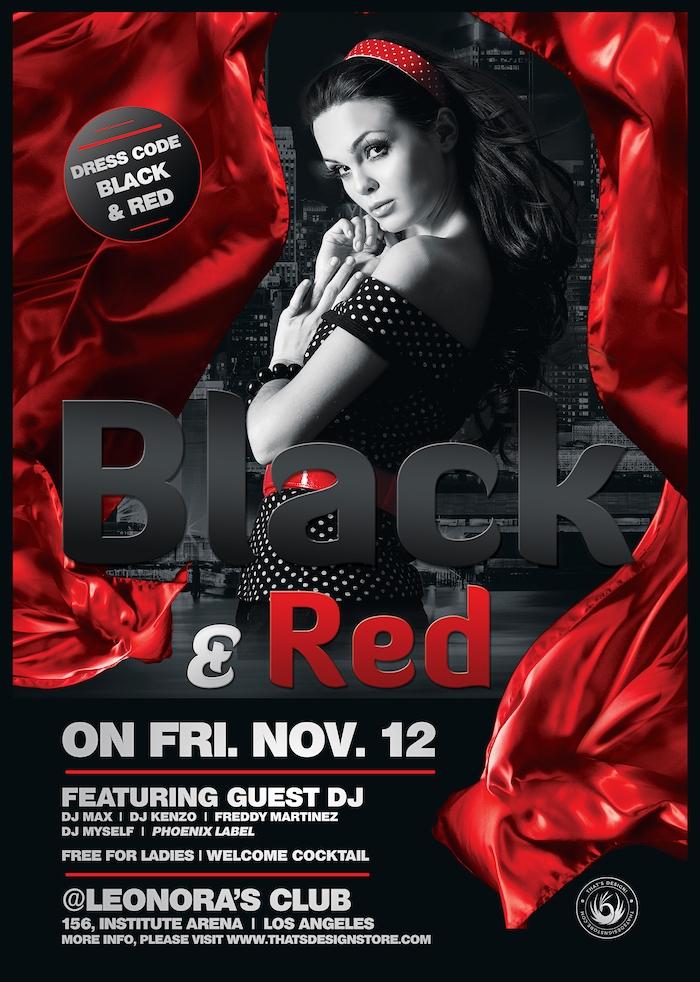 Black Red Flyer Template V2 Free Posters Design For Photoshop Black And Red Flyer Template Party Flyer