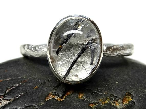 branch silver ring for her twig silver ring Tourmalinated Quartz silver engagement ring Tourmaline Quartz ring organic stone ring silver