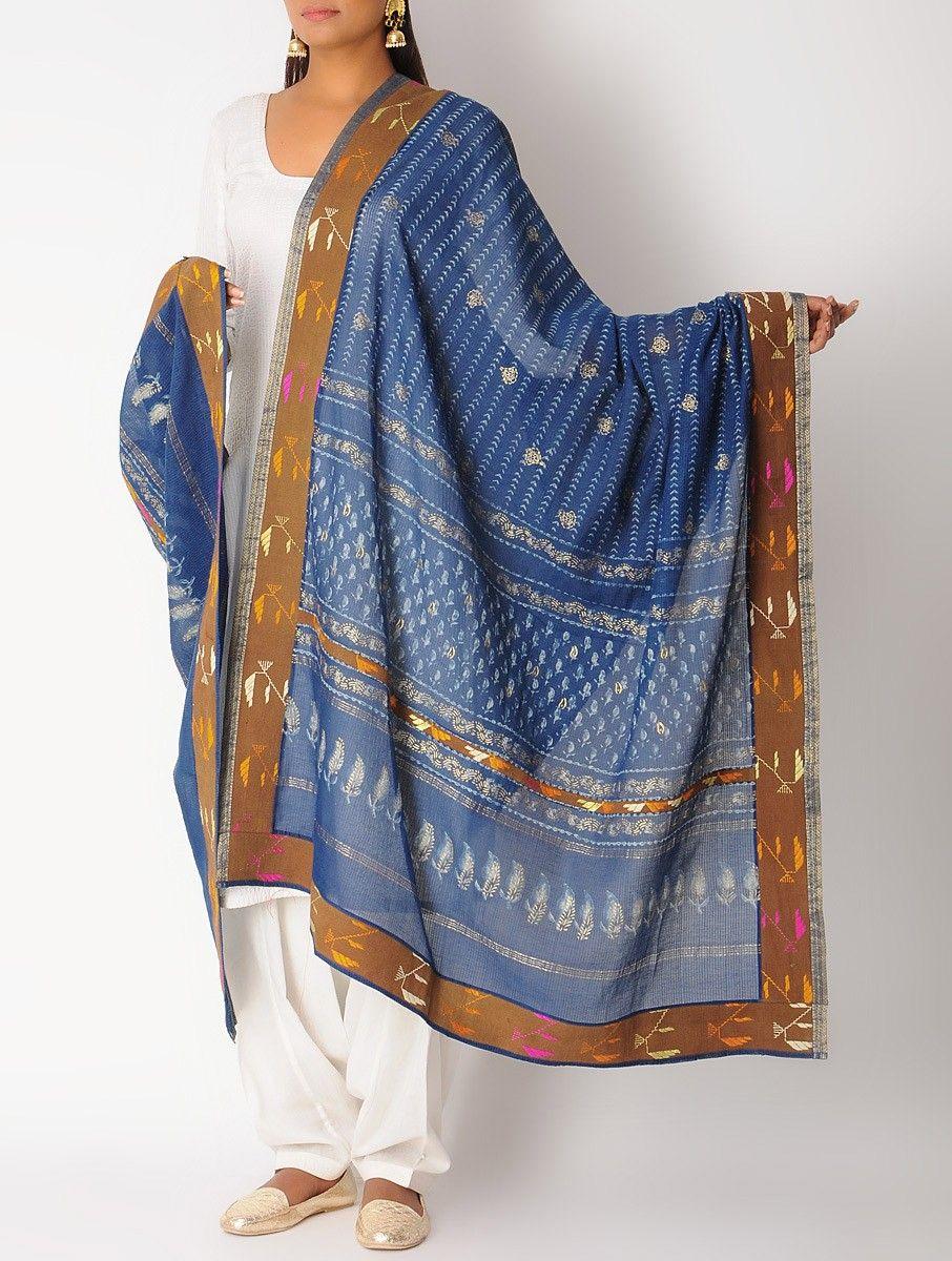 Buy Indigo-Brown Maheshwari Vintage Border Phulkari Dupatta Online ...