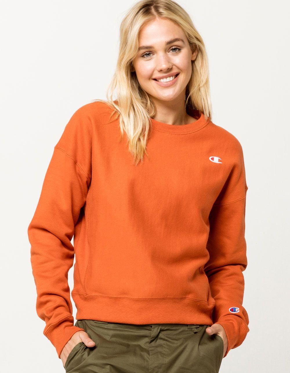 Champion LIFE Men/'s Reverse Weave Crew Burnt Orange Sweatshirt