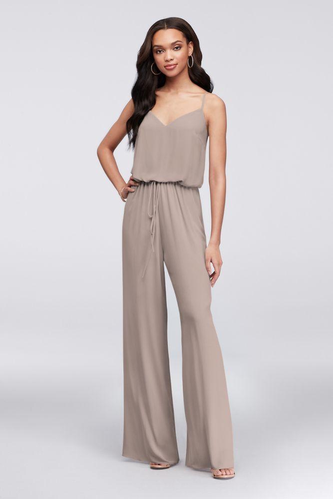 Flowy Wide-Leg Georgette Bridesmaid Jumpsuit Style F19790, Biscotti, 8