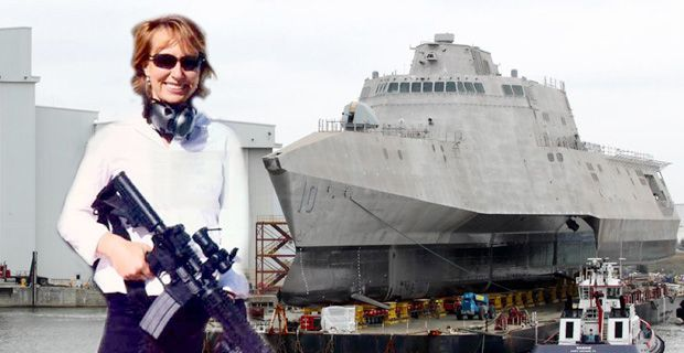 """AMERICANS REACT TO THE 'USS GABRIELLE GIFFORDS' """"Are you going to put squirt guns on it? Better make sure the ship only has less than ten rounds on board."""""""