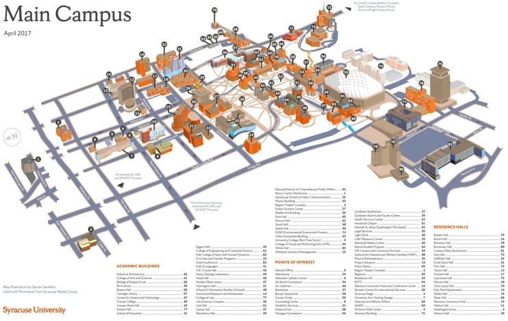 Syracuse main campus map Maps Pinterest Usa cities and City