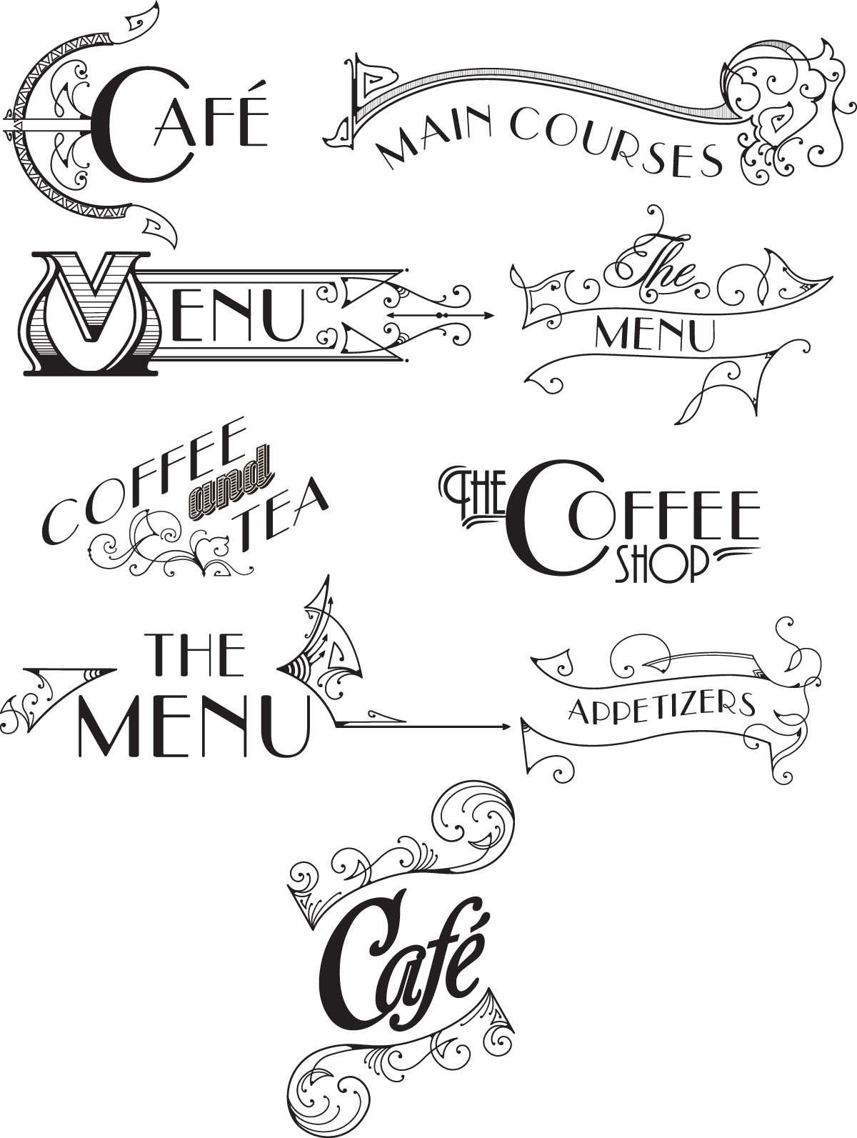 Vintage menu original vector set Vintage menu, Bakery