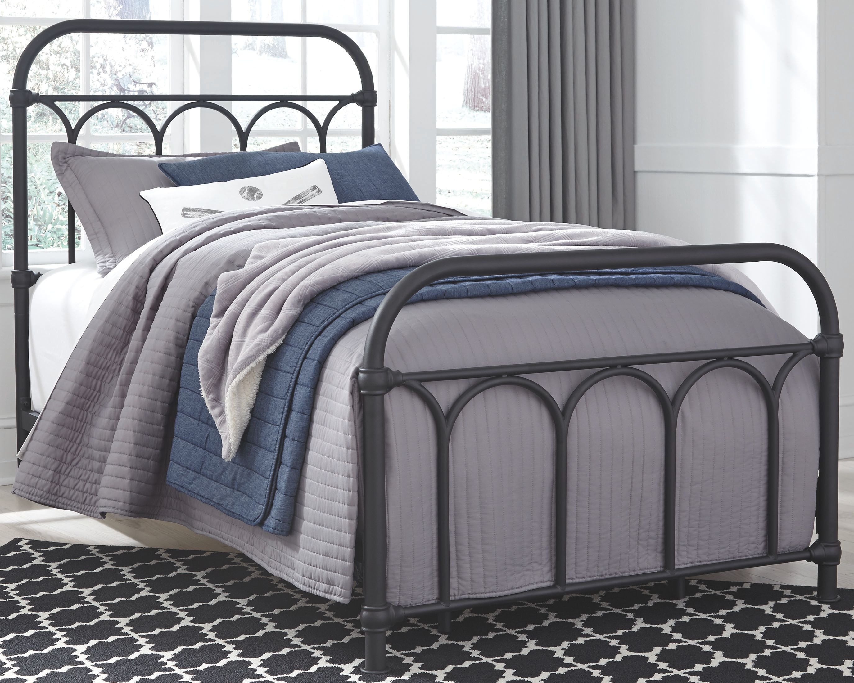 Nashburg Twin Metal Bed Black In 2020 Wrought Iron Beds Black