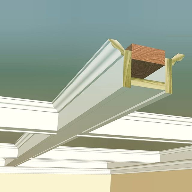 Here Is The Rendered Craftsman Style Coffered Ceiling Built Entirely From Profiles Found In Our In Stock Collection On T Home Decor Craftsman Style Homes Home