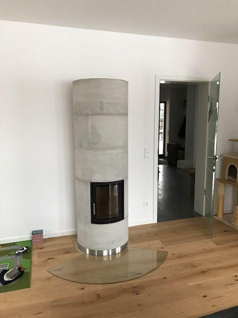 Kleinspeicherofen Brunner KSO Sichtbetonoberfläche Vorlage - wandverkleidung küche glas