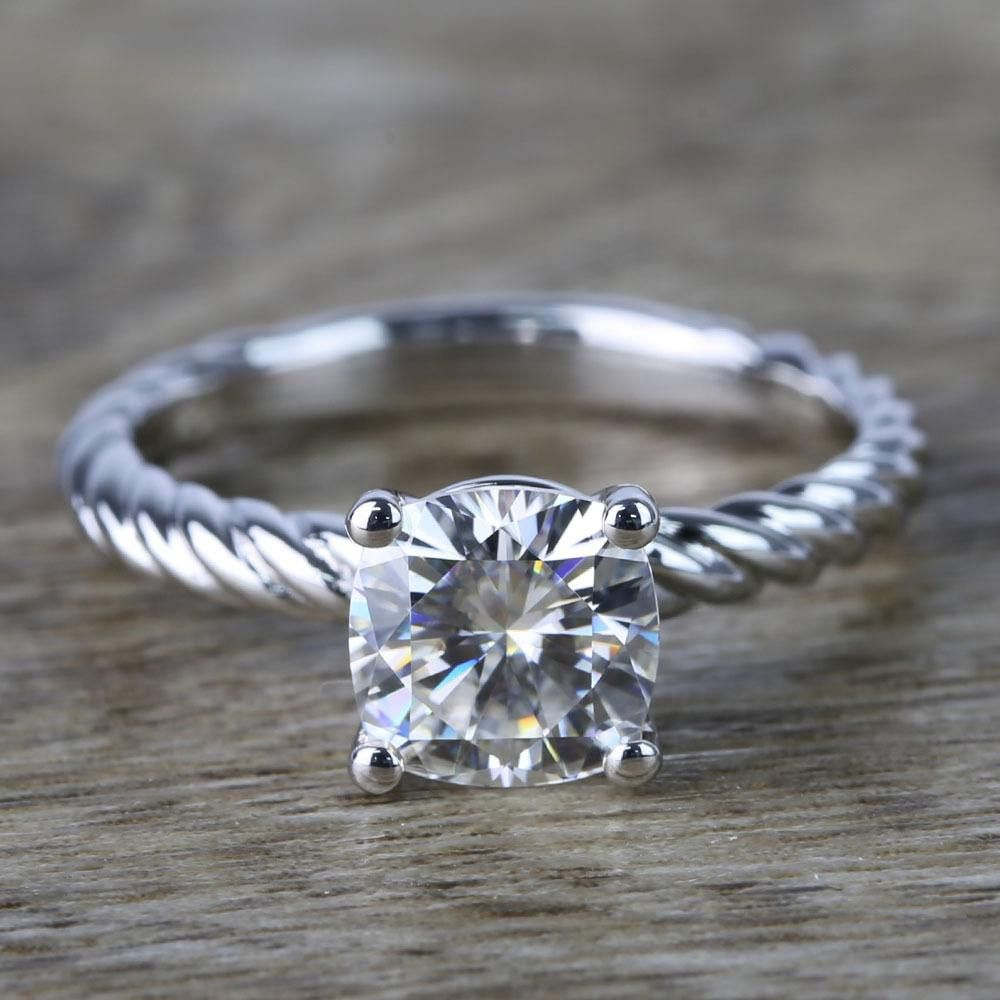 Twisted rope cushion moissanite engagement ring recently purchased
