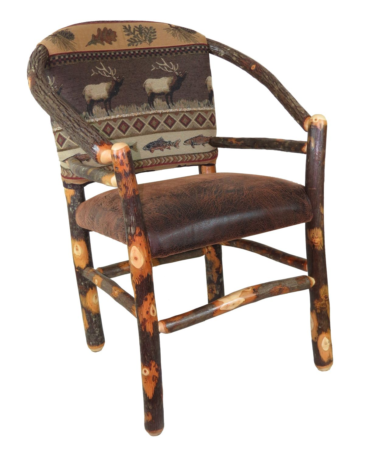 Rustic Hickory Dining Chair with upholstered hoop back