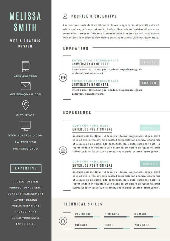 Resume Template  Pages Cv Template Cover Por Theresumeboutique