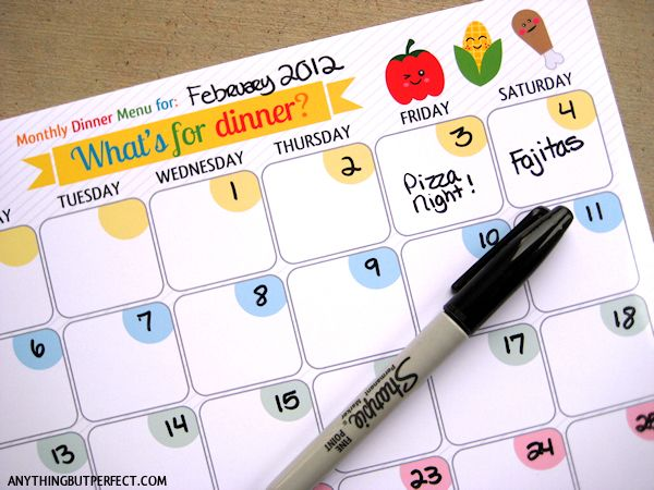 Monthly Dinner Menu Planner Free Printable WwwMomsCom
