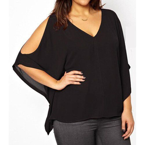Sexy V-Neck Solid Color Plus Size Hollow Out Blouse For Women - Plus Size...and this...i might have spoiled myself a little