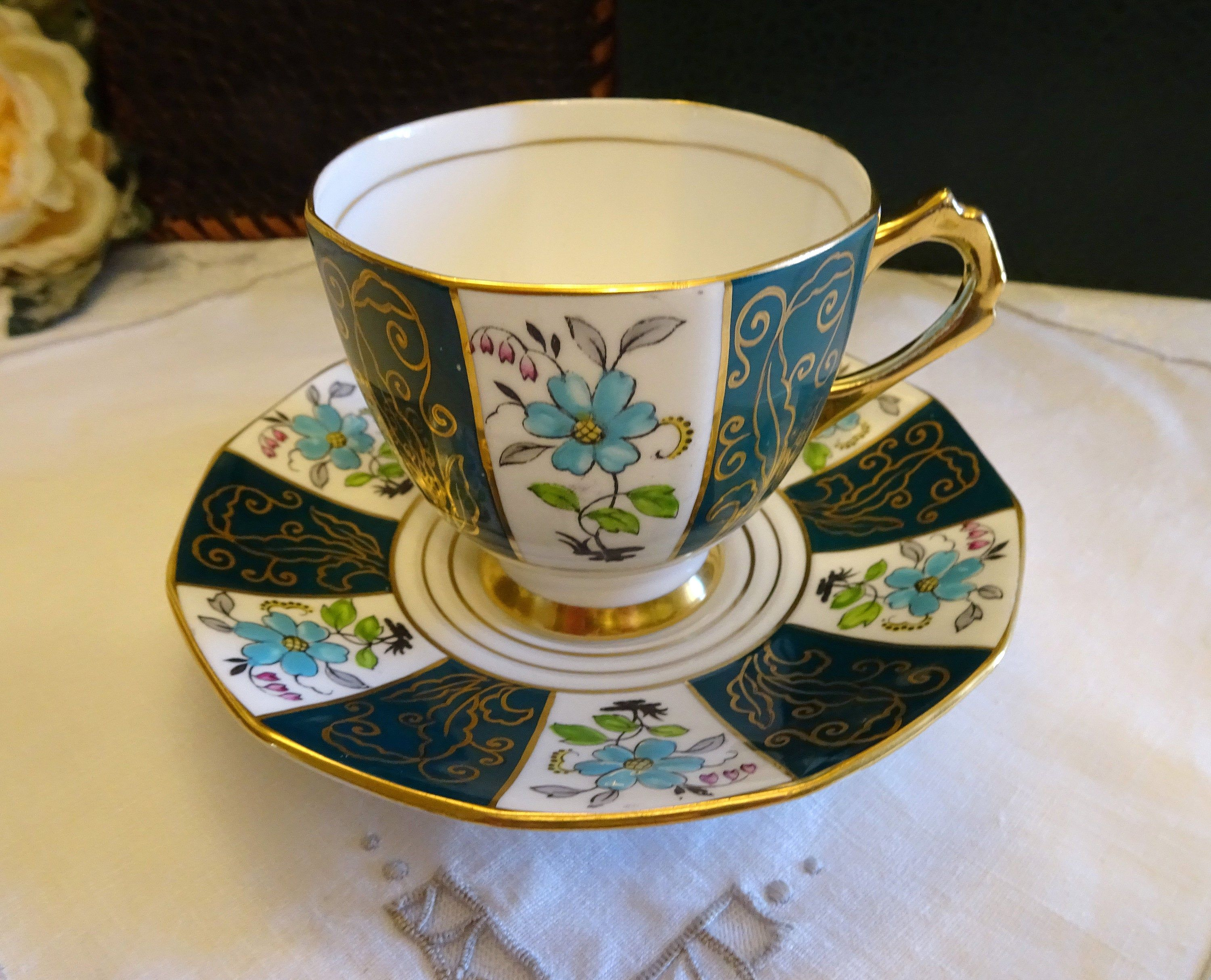 Vintage Tuscan Tea Cup and Saucer Blue and Gold Made in England