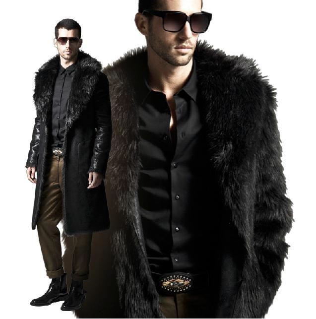 Fashion New 2013 Faux Fur Mens Jacket Men's Coats Slim Fit Green ...