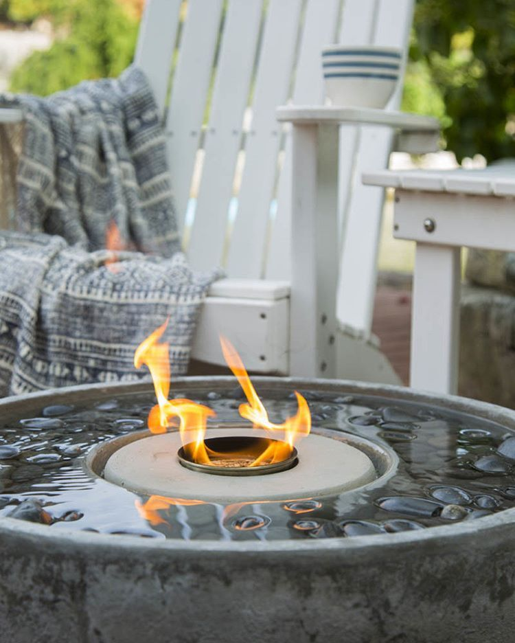 Enjoy the combination of fire and water with a unique Fire Fountain. Perfect for the fall season! #decorativewaterfeature #outdoorliving #waterfeature #fireandwater