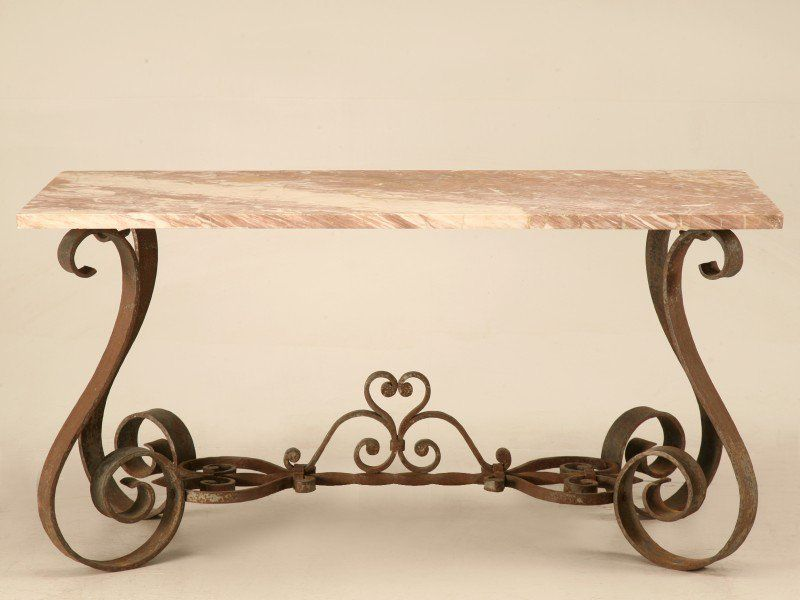 Vintage French Forties Iron Amp Stone Console Table For Sale