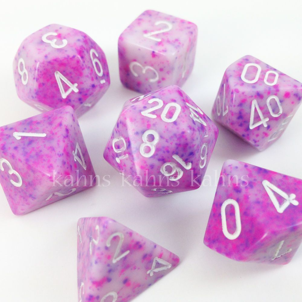 6664123b1d8d Chessex Dice Poly SPECKLED Purple   Pink w  White Set of 7 VERY RARE ...