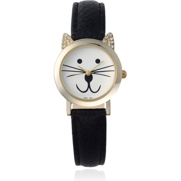 Geneva Platinum Women S Rhinestone Accent Cat Face Watch 25 Liked On Polyvore Featuring Jew Black Rhinestone Jewelry Rhinestone Watches Rhinestone Accents