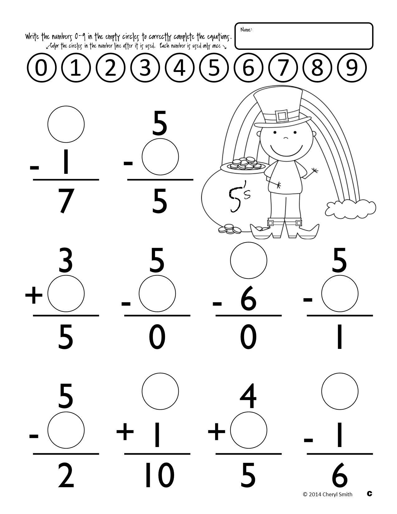 Math Facts: St. Patrick's Day / Easter (Addition and Subtraction)   Math  fact worksheets [ 1650 x 1275 Pixel ]