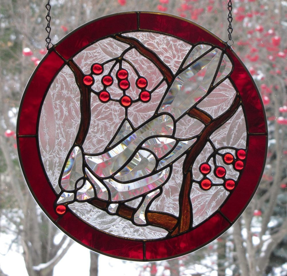 12 round stained glass window cardinal eating berries for 12 round window