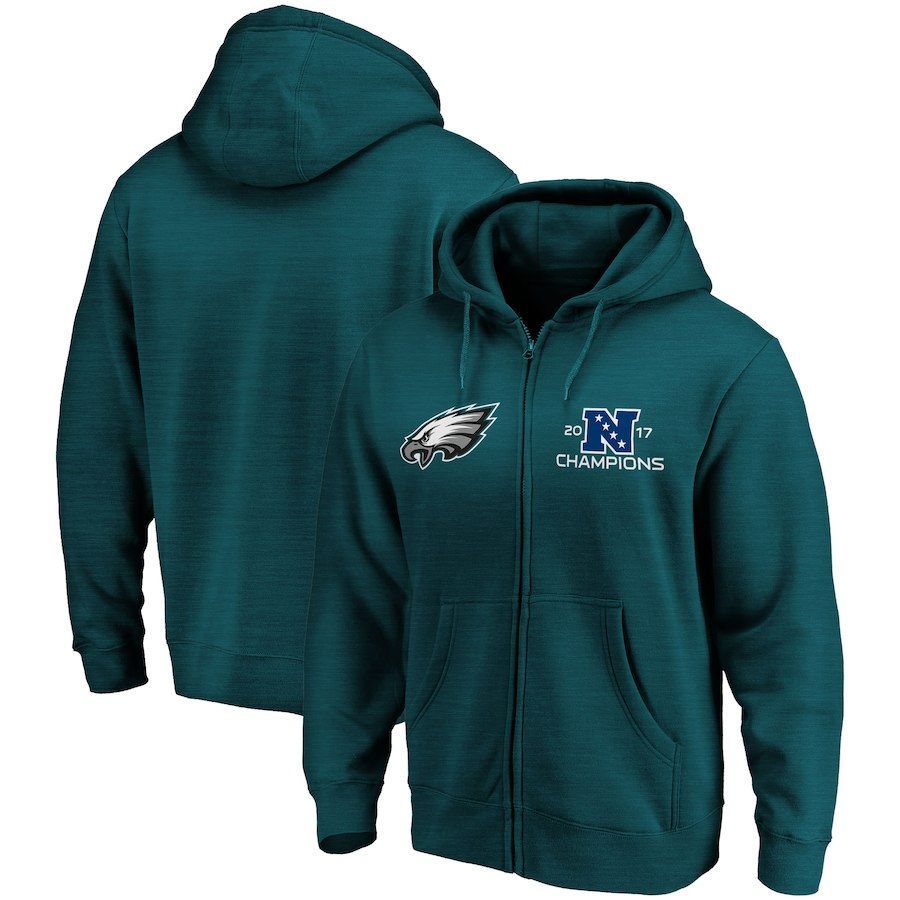 Philadelphia Eagles NFL Pro Line by Fanatics Branded 2017-18 Conference  Champs Rush Full-Zip Hoodie – Midnight Green d2a585650