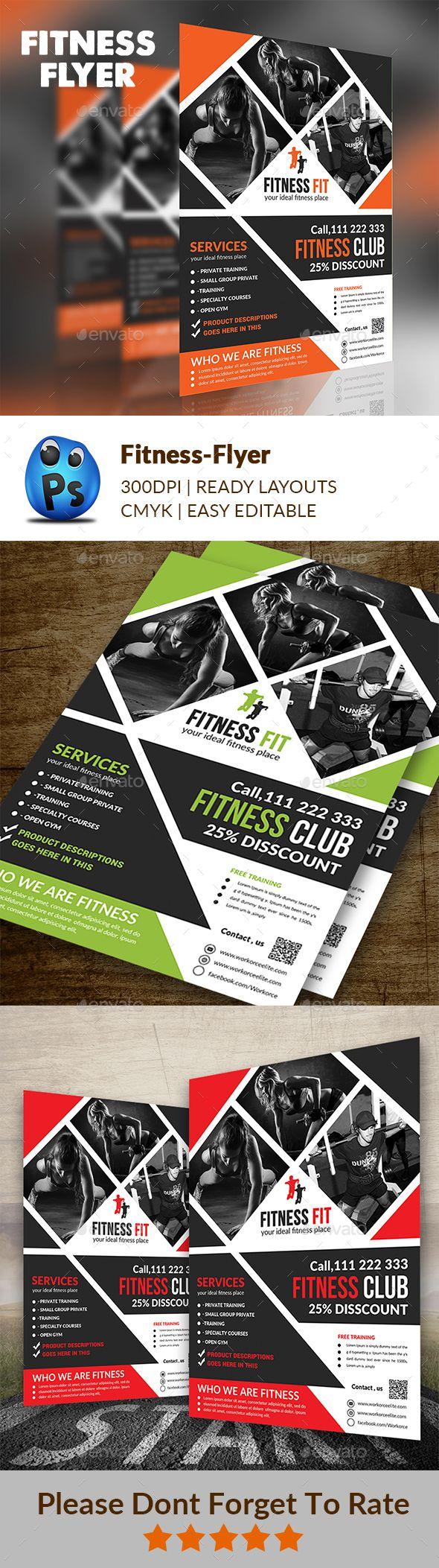 Fitness Flyer | Folletos, Volantes y Plantilla de pancarta