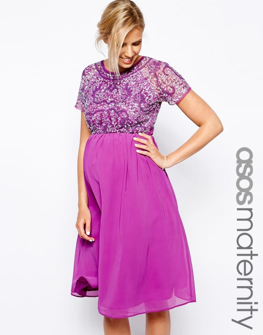 Maternity dress for wedding guest  ASOS Maternity  ASOS Maternity Exclusive Embellished Midi Dress at