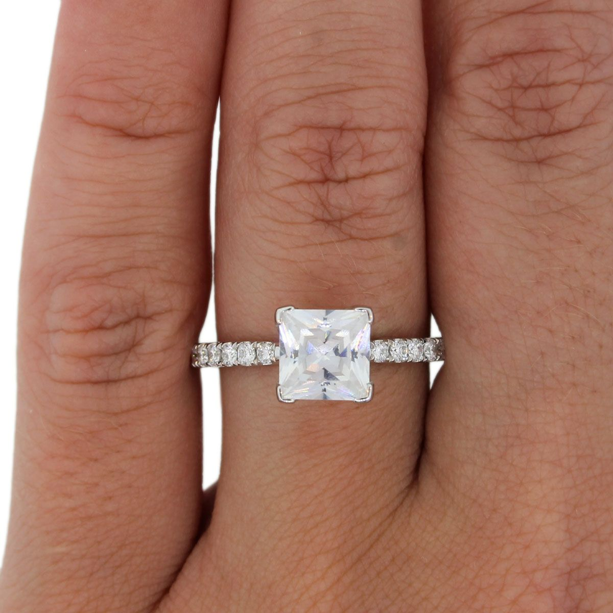 A.Jaffe princess cut diamond engagement rings in white gold