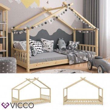 VITALISPA Hausbett DESIGN 90x200cm Holz Natur Kinderbett