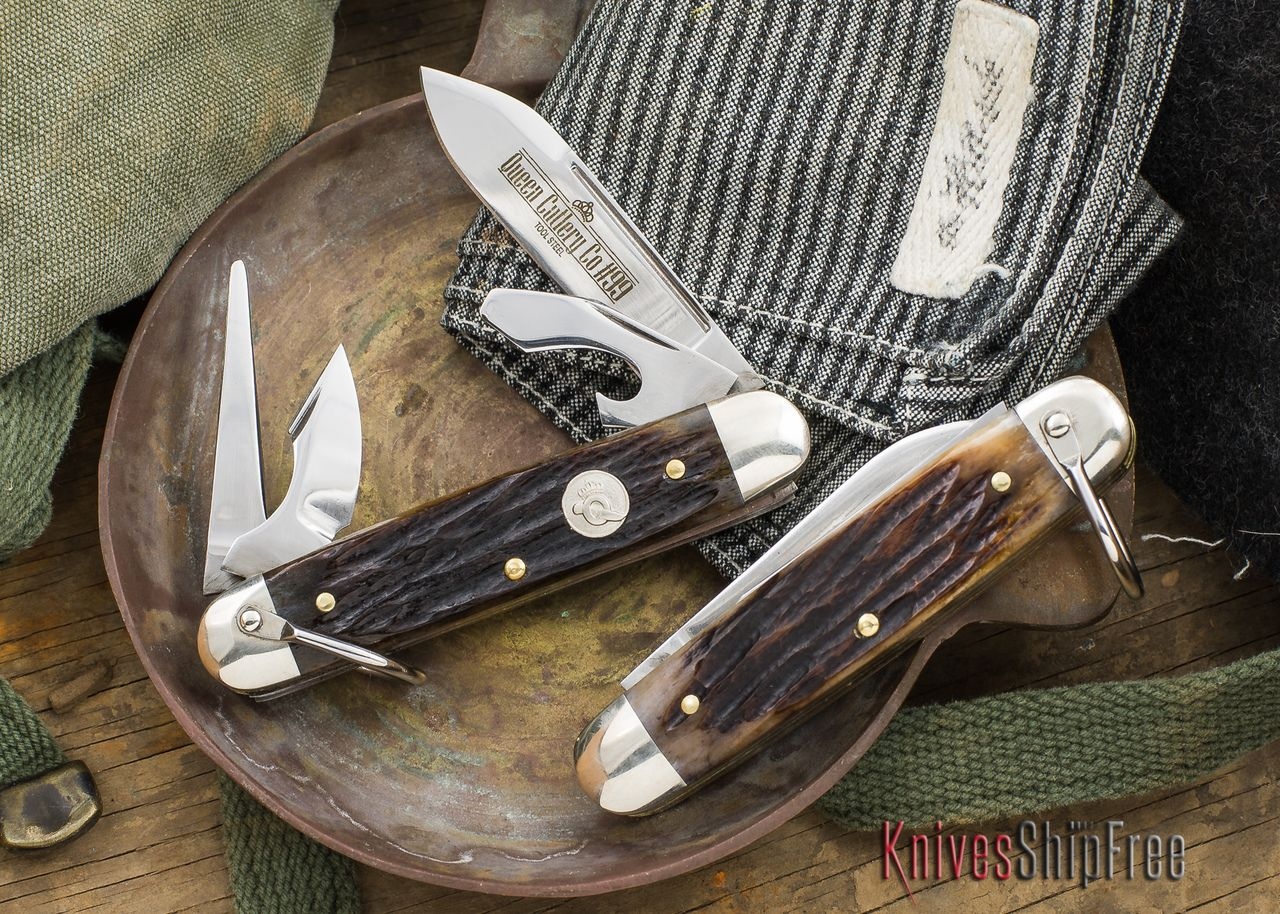 Queen Cutlery 99sb Scout Stag Bone D2 Steel D2