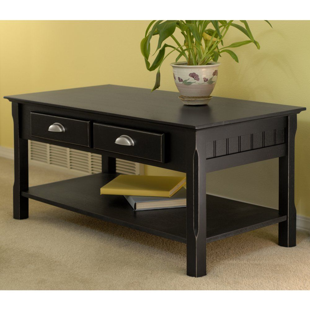 Winsome Wood Timber Coffee Table With Two Drawers Black Finish Walmart Com Solid Wood Coffee Table Coffee Table With Drawers Coffee Table Wood [ 1000 x 1000 Pixel ]