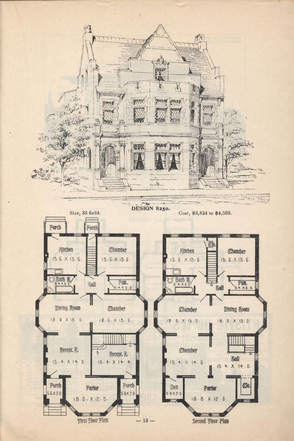 Old Classic Floor Plans 1890s 2 Story Home Artistic City Houses