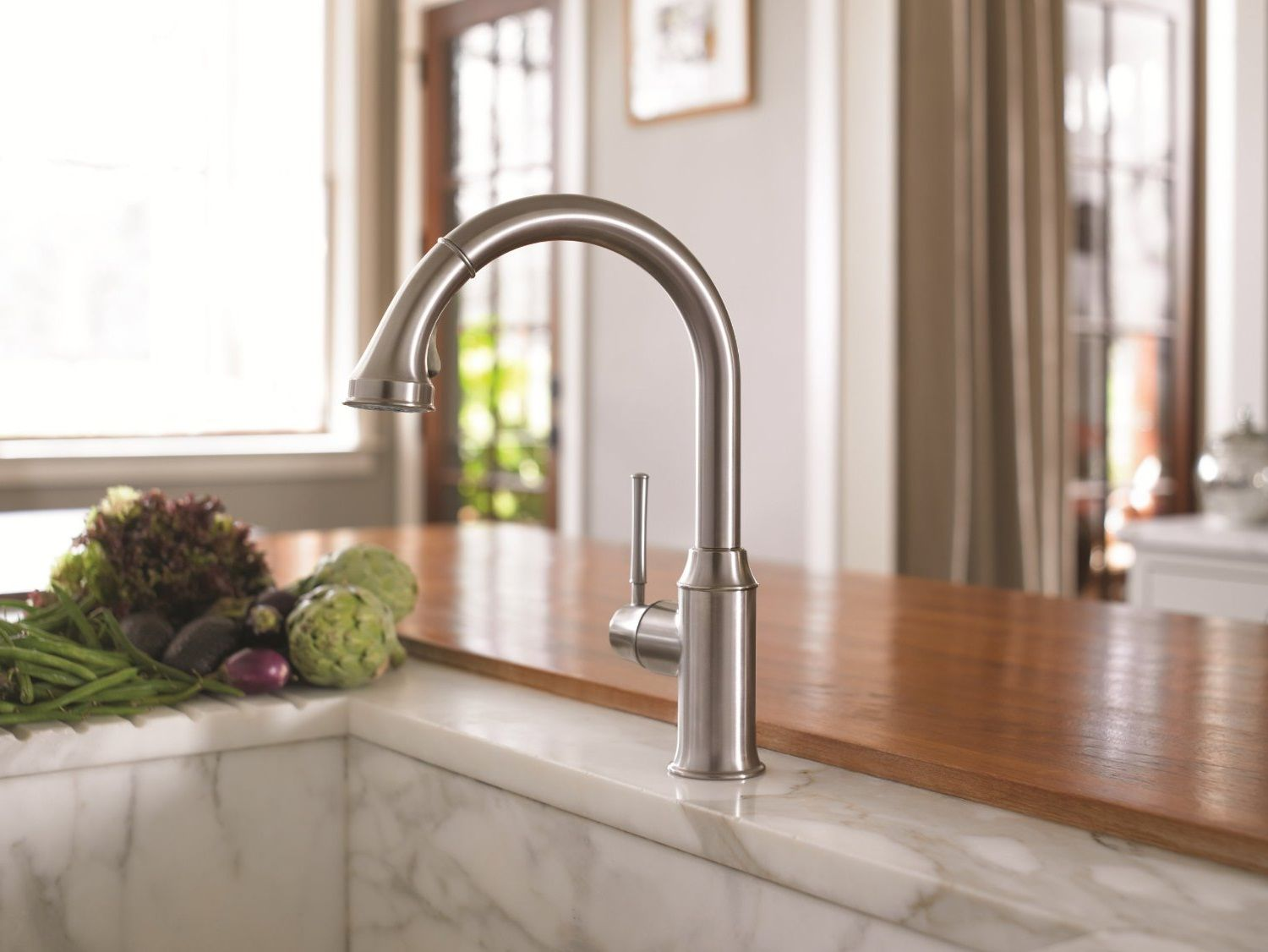 faucet single faucets pull s sprayer talis kitchen in hansgrohe p steel out optik handle