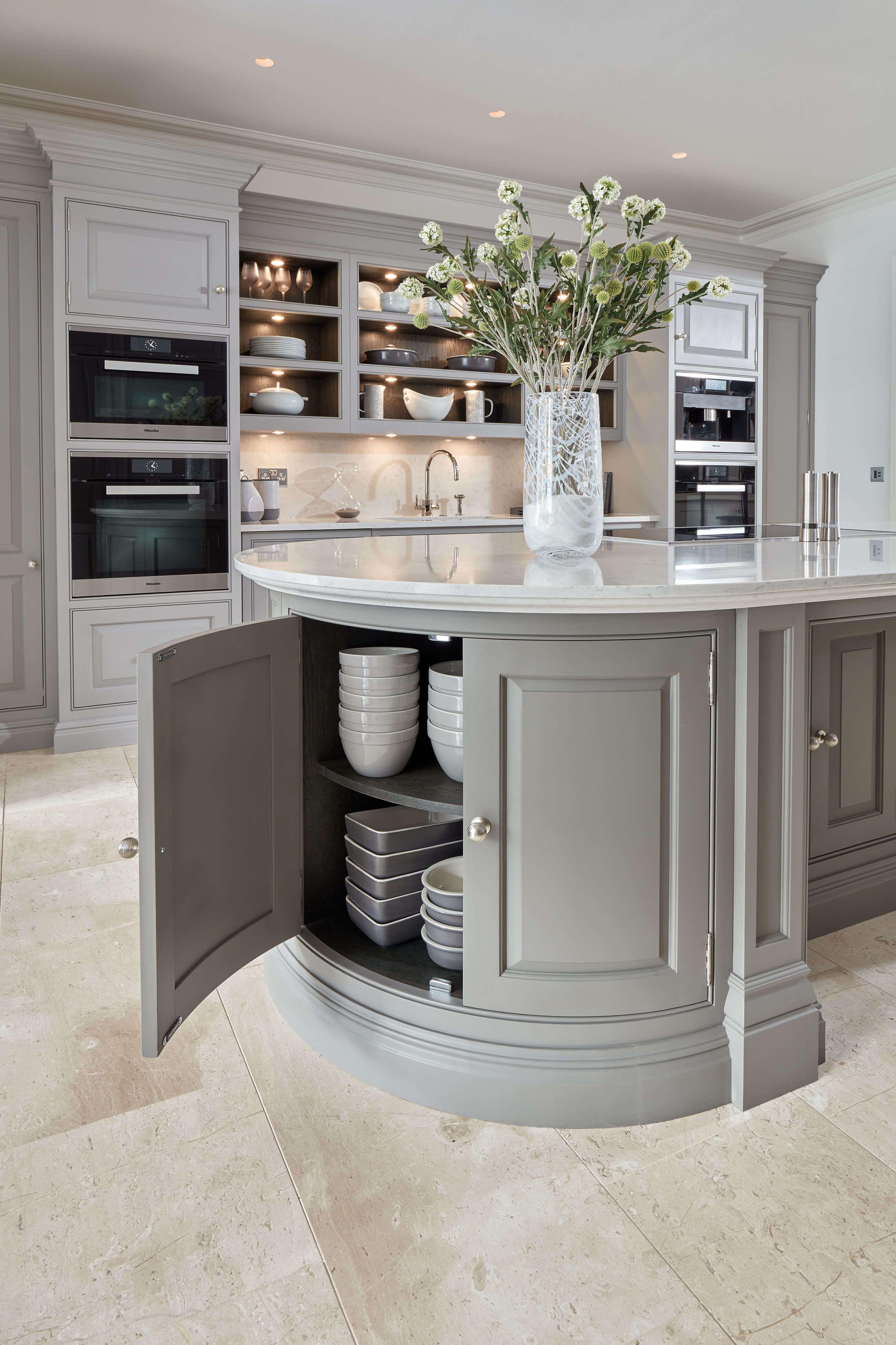 Curved Grey Island Home decor kitchen, Kitchen design