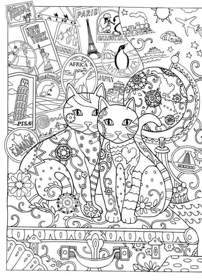 Pin de Charlotte Holmes en cat colouring pages | Pinterest | Gato ...