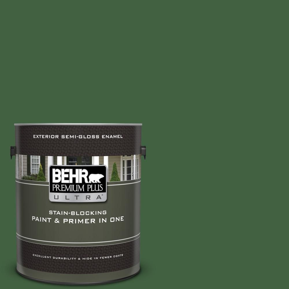Behr Ultra 1 Gal S400 7 Deep Viridian Semi Gloss Enamel Exterior Paint And Primer In One 585301 Exterior Paint Behr Marquee Behr