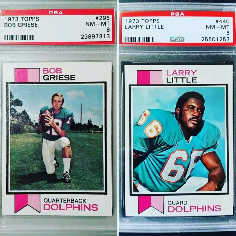1973 topps miami dolphins bob griese larry little graded
